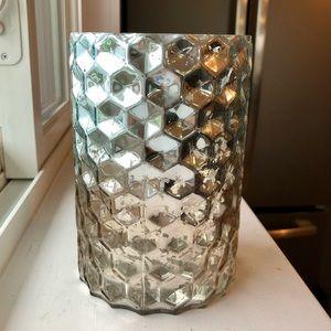 Blue and gray honeycomb mercury glass vase